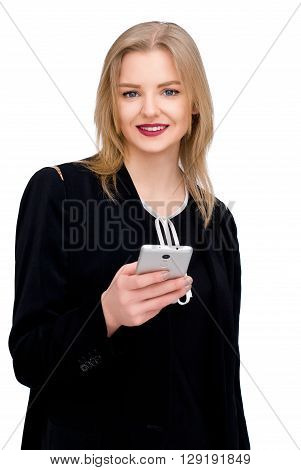 portrait of happy confident businesswoman with mobile cell phone isolated on white