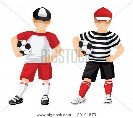 Vector illustration of kid in sport wear with ball isolated on white background. Little boy  with soccer ball in black sport shorts, top, red cap, red socks and sneakers.
