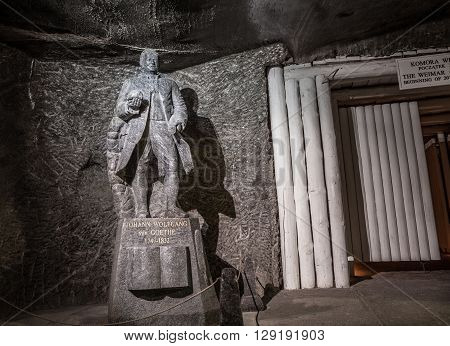 KRAKOW, POLAND -  13 DECEMBER 2015 :Johann Wolfgang von Goethe salt statue in Wieliczka Salt Mine on 13 DECEMBER 2015