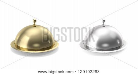 Silver and gold closeed cloche on white background.