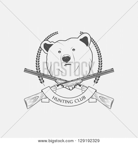 hunting icon with a bear and guns vector illustration