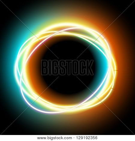 Neon oval. Neon colorful light. Vector electric frame. Vintage frame. Retro neon lamp. Space for text. Glowing neon background. Abstract electric background. Neon sign circle. Glowing electric frame