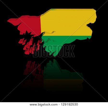 Guinea Bissau map flag with reflection 3d illustration