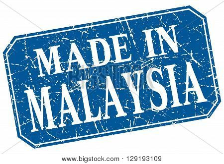 made in Malaysia blue square grunge stamp