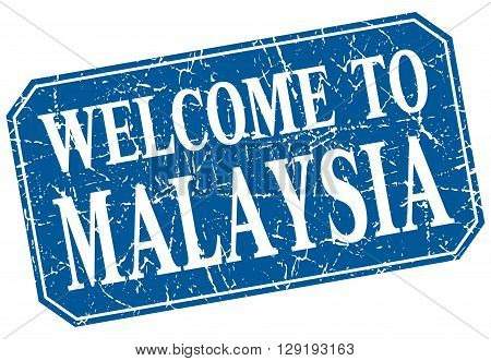 welcome to Malaysia blue square grunge stamp