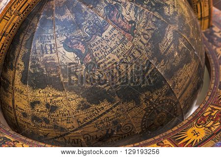 Close Up Of Old Wooden Mounted World Globe