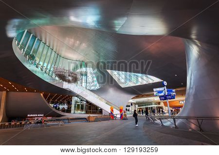 Arnhem Netherlands - April 19 2016: Arnhem Centraal railw station with unidentified people. After reconstruction it was reopened 2015. The new design was by UNStudio that won an architecture price