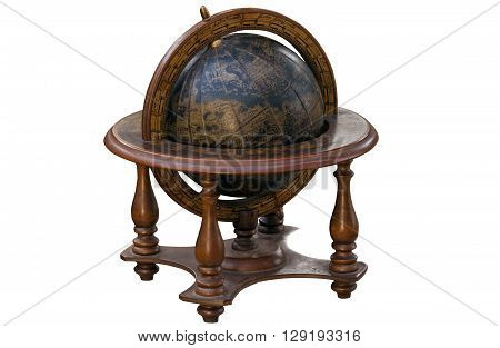 Vintage World Globe Mounted In Wooden Stand