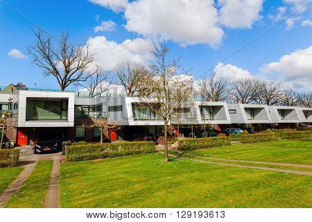Hilversum Netherlands - April 19 2016: sound barrier houses called The Cyclops. They are part of a sound proof embankment designed by NIO architects.