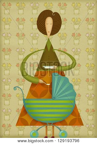 Mother with baby carriage. Mother holding a spoon. Boho style. Creative illustration.