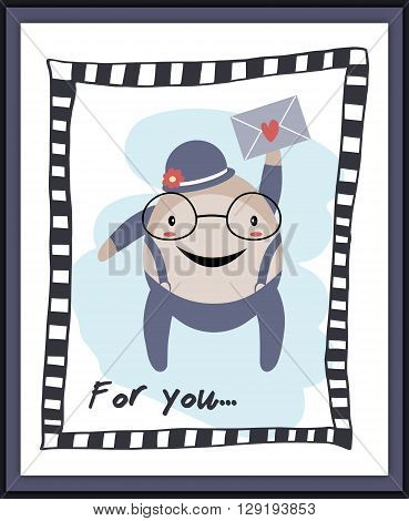 Stylized man with love letter card. Love theme
