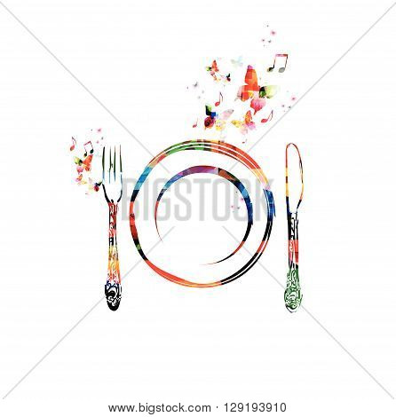 Vector illustration of colorful kitchenware with butterflies