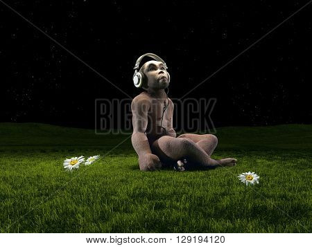 Monkey with headphones on the grass.3d render