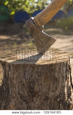 Ready for cutting timber. Close-up of axe cutting log while other logs laying in the background