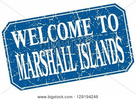 welcome to Marshall Islands blue square grunge stamp