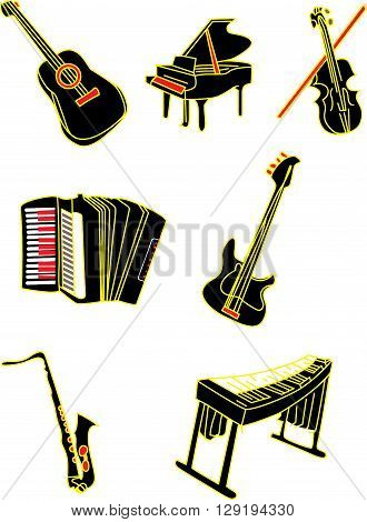 vector illustration  Musical instruments piano guitar violin electronic guitar  and harp in black and gold  and red and yellow colors