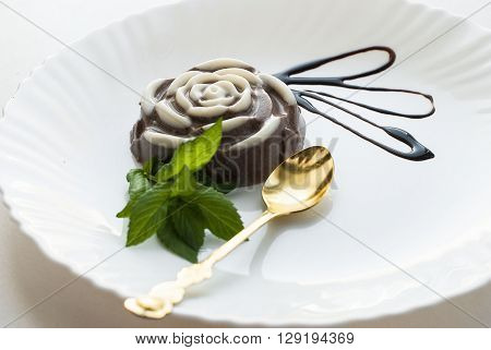 Chocolate Panna Cotta In The Shape Of Roses