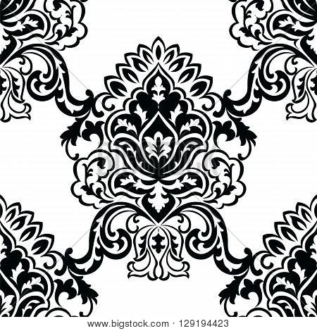 Vector Classic Baroque floral damask pattern background. Luxury classic floral damask ornament royal Victorian vintage texture for wallpapers textile fabric. Black color