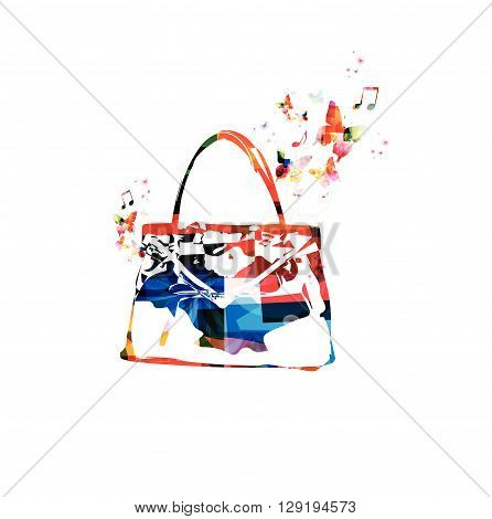 Vector illustration of colorful purse with butterflies