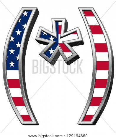 Parenthesis, asterisk from american flag alphabet set isolated over white. 3D illustration.