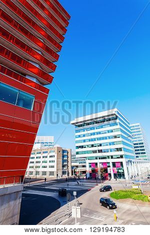 Almere Netherlands - April 19 2016: modern architecture in Almere that is a fast growing planned city in the province Flevoland. With a population of about 200000 it is the 7th largest Dutch city
