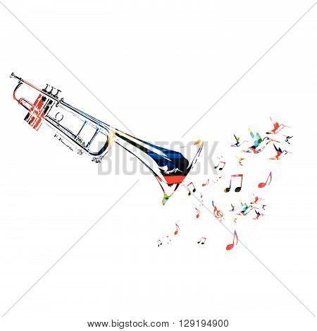 Vector illustration of colorful trumpet with hummingbirds