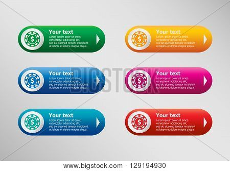 Casino Gambling Chips Icon And Infographic Design Template