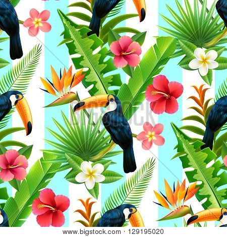Tropical rainforest plants with toucan bird of paradise and hibiscus flowers seamless decorative design abstract vector illustration