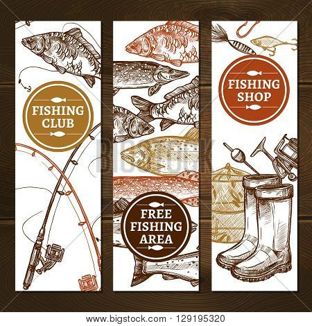 Fishing Sketch Concept. Fishing Vertical Banners. Fishing Vector Illustration. Fishing Hand Drawn Set. Fishing Design Symbols.