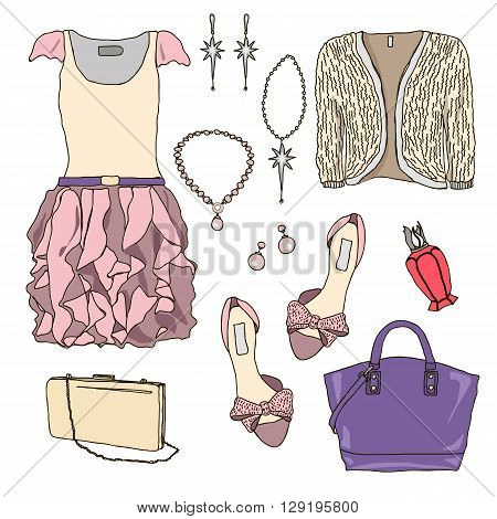 Woman wardrobe accessories set. Collection of princess pink dresses, bags, shoes and accessories. Fashion boutique poster. Vector illustration, isolated on background. Modern clothes for a party
