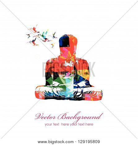 Vector illustration of colorful Buddha with hummingbirds