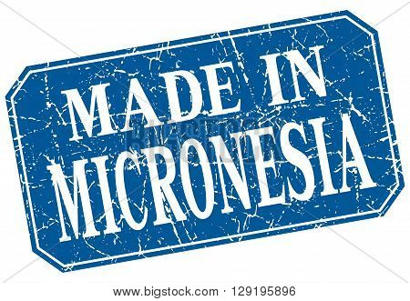 made in Micronesia blue square grunge stamp