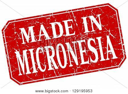made in Micronesia red square grunge stamp