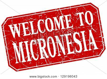 welcome to Micronesia red square grunge stamp