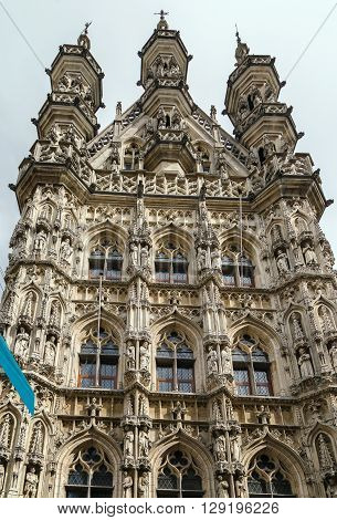 The City Hall of Leuven Belgium is a landmark building on that city's Grote Markt (Main Market) square. Built in a Brabantine Late Gothic style between 1448 and 1469