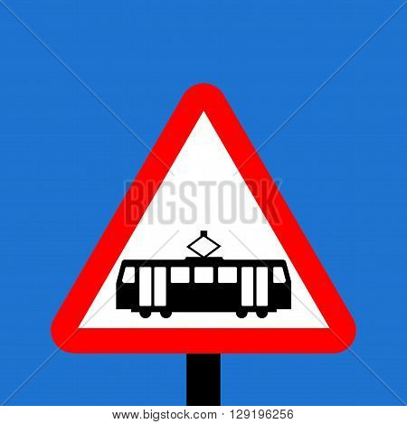 A Warning triangle Trams crossing ahead sign
