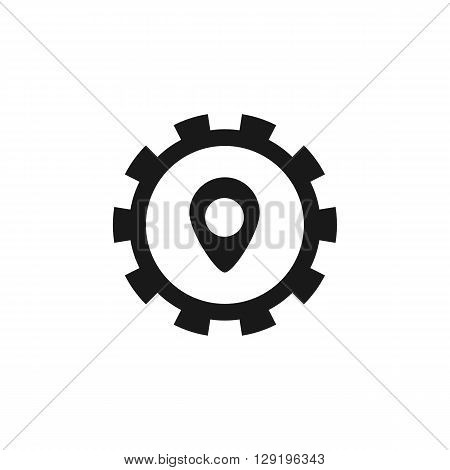 black cog pointer location computer icon web button business badge or label as sticker on white background