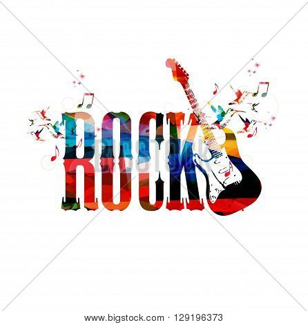 Vector illustration of colorful inscription Rock with hummingbirds