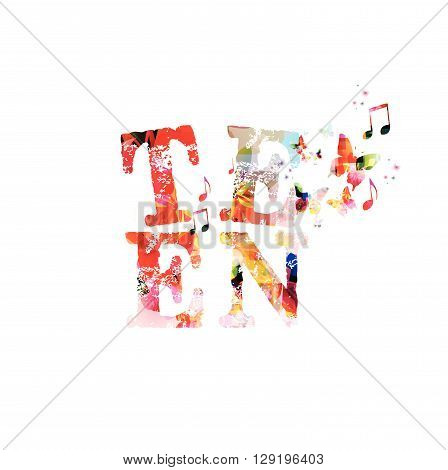 Vector illustration of colorful inscription Teen with butterflies