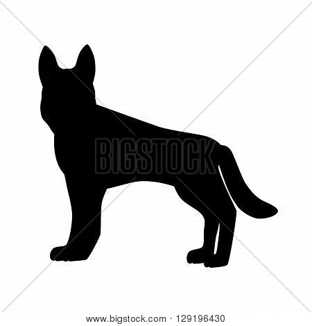 Flat german shepherd hound pet illustration. Standing cute dog vector. Flat dog animal pet vector icon. Home cartoon german shepherd in flat style. Dog black silhouette isolated on white background