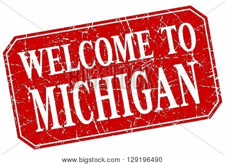 welcome to Michigan red square grunge stamp