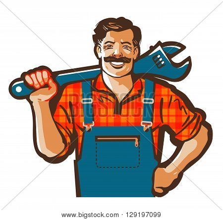 plumber vector logo. wrench or handyman icon