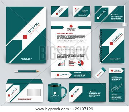 Professional universal branding design kit. White tape on green, ribbon with green arrow. Corporate identity template. Business stationery mockup. Editable vector illustration: folder, mug, etc.