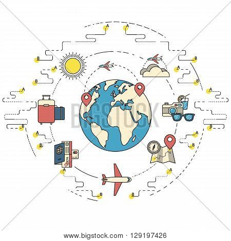 Traveling around the World. Vacation or holidays. Planing trip road. Tourism set. Journey planing. Travelling illustration. Flat thin line design. EPS 10. Vintage colors.