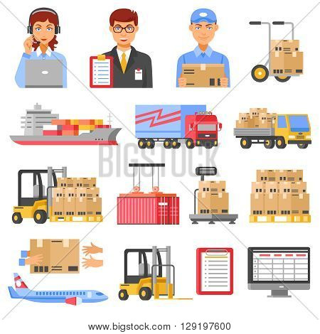 Logistics and delivery decorative icons set of different kinds of transport with airplane truck ship forklift and cargo boxes isolated vector illustration