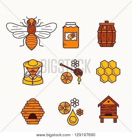 Vector illustration beekeeping in outline style. Beehive icon, bee, apiary and honey symbols for honey healthy food designs. Apiary icons: bee, honey, apiarist, beehive, honeycomb. Beehive apriary