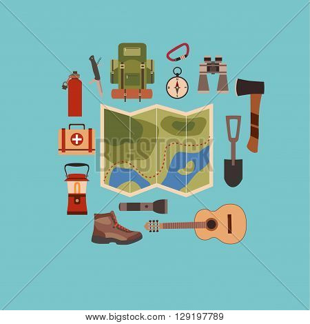 Vector illustration of camping concept. Hiking and tourism camping concept background. Camping concept symbols: backpack, compass, flashlight, guitar, boot. Camping concept background in flat style.