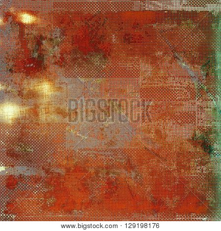 Abstract vintage background with faded grungy texture. Aged backdrop with different color patterns: yellow (beige); brown; green; gray; red (orange); pink
