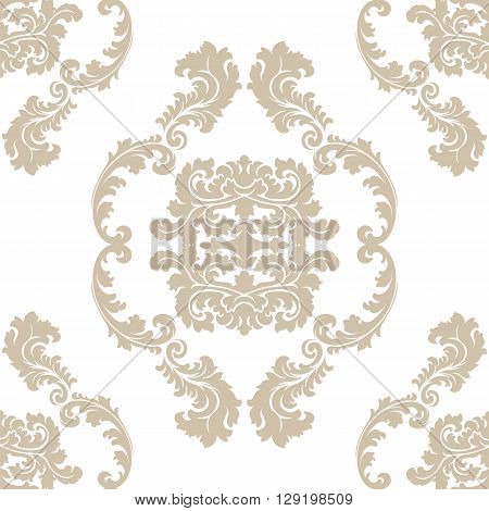 Vector floral damask pattern background. Luxury classic floral damask ornament royal Victorian vintage texture for wallpapers textile fabric. Beige Floral baroque element
