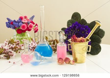Dry and fresh flowers and glass vials  of tincture or oil, aromatherapy concept